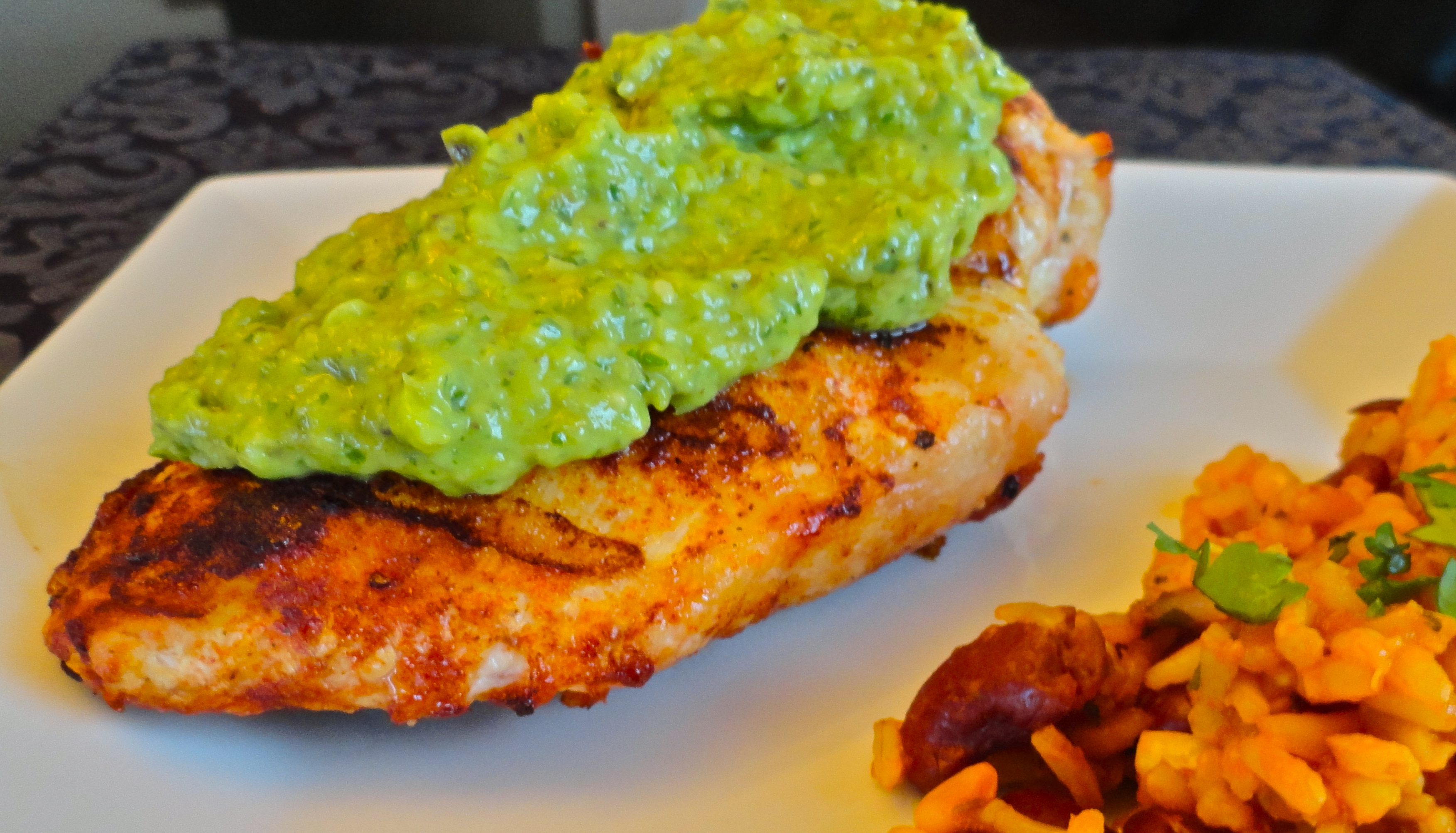 Grilled Chicken with Green Chili, Tomatillo, and Avocado Sauce ...