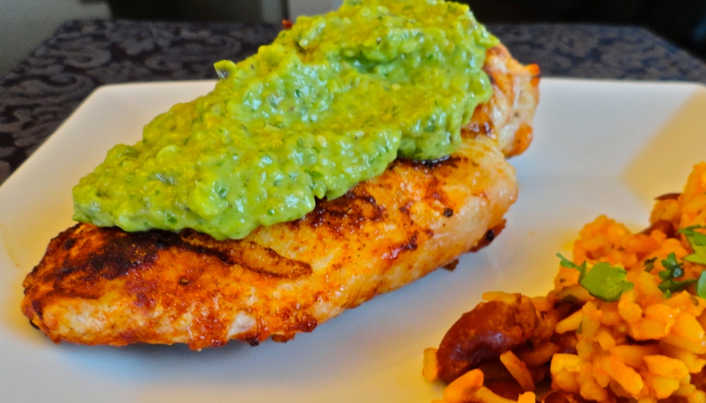 Grilled Chicken with Green Chili, Tomatillo, and Avocado Sauce