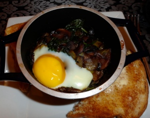 Eggs Baked Over Sauteed Mushrooms and Spinach