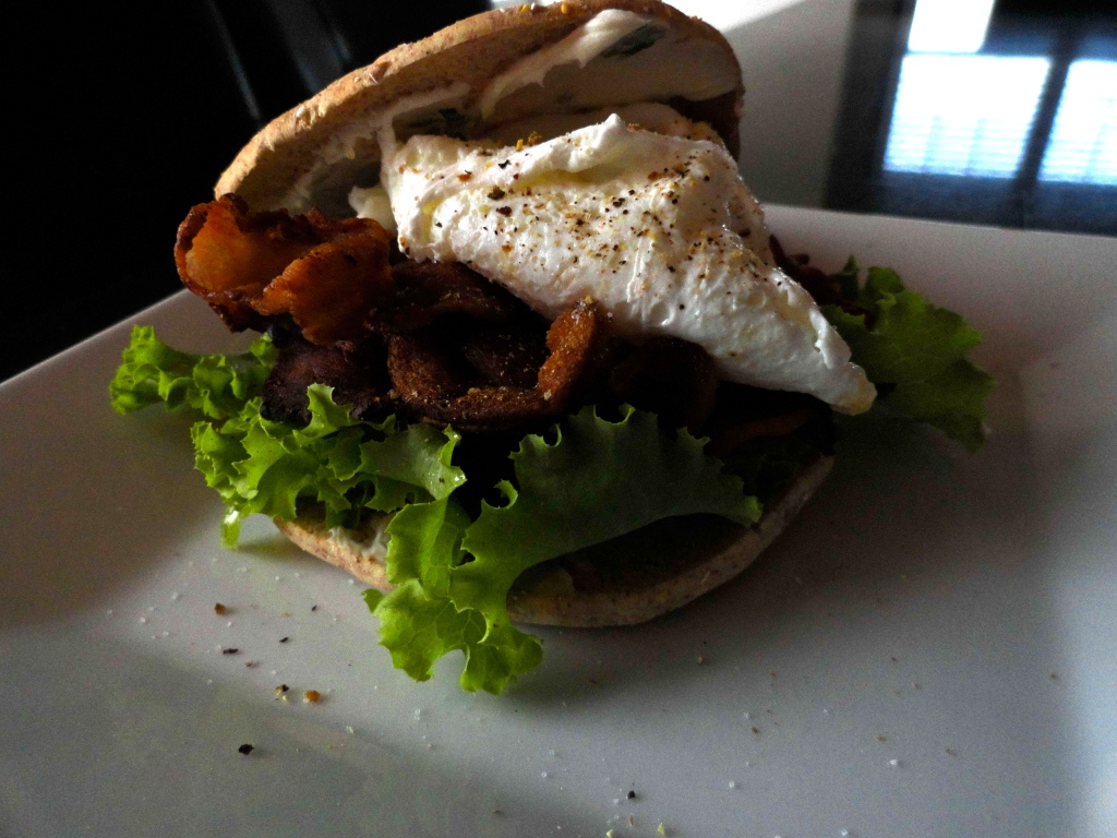 B.L.T. with Poached Egg and Basil Mayo