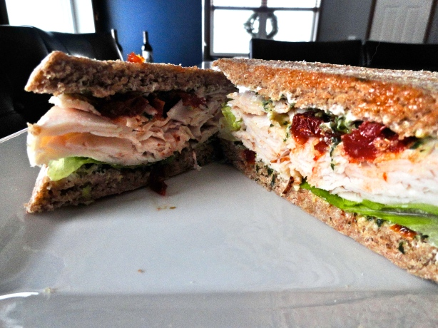 Pesto Turkey Sandwich with Sun-Dried Tomatoes