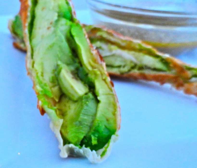 Avocado Egg Rolls with Cilantro-Lime Dipping Sauce