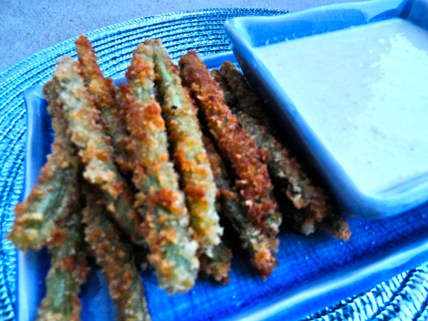Fried Green Beans with Wasabi Ranch Dipping Sauce