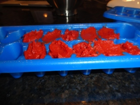 Freezing tomato paste in ice cube trays