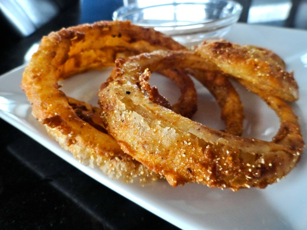 Cornmeal Fried Onion Rings with Chipotle Mayo Dipping Sauce