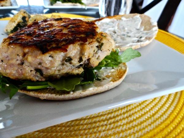 Rosemary Chicken Burgers with Garlic Rosemary Mayonnaise