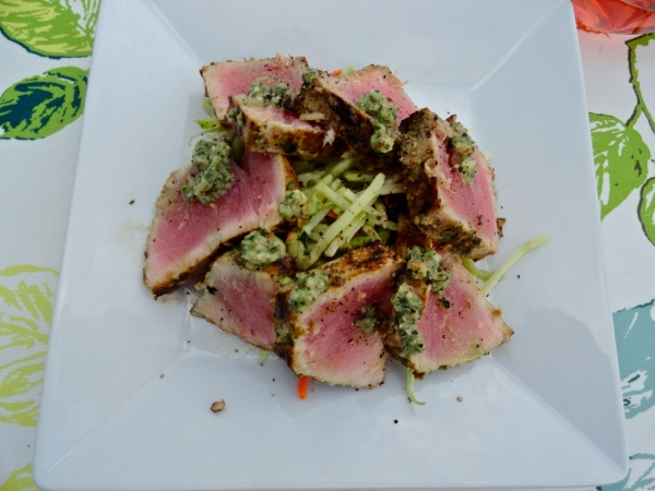 Jalapeno Cilantro Pesto Crusted Tuna