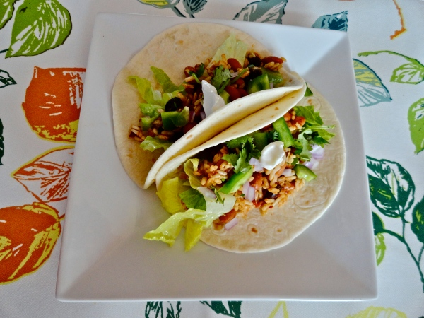 Spicy Bean and Rice Tacos