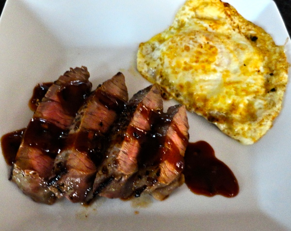 Steak and Eggs with Molasses-Beer Sauce