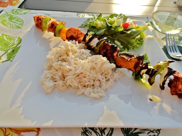 Jerk Mango Chicken Kebabs