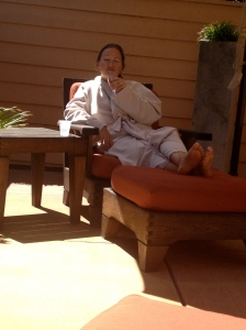 Kim relaxing at the spa