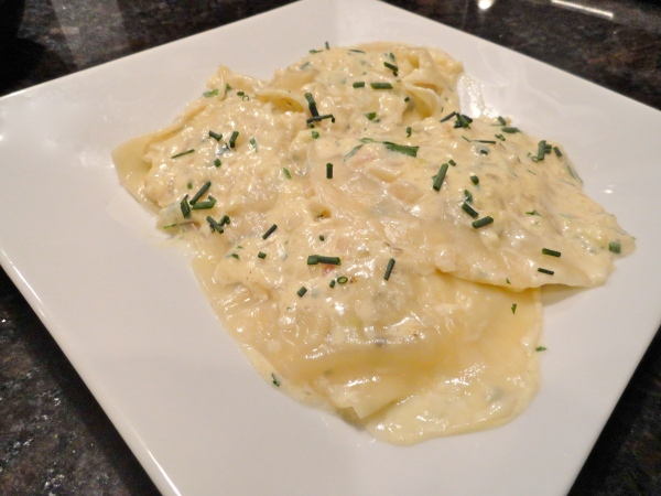 Crab Ravioli with Shallot Cream
