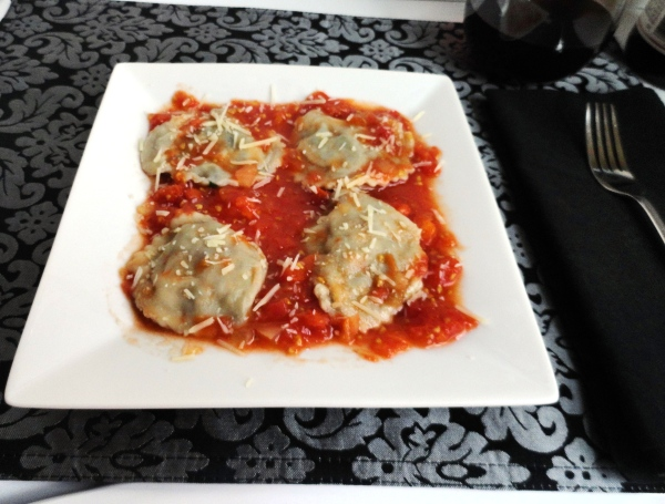 Swiss Chard Ravioli in Smoked Onion Tomato Sauce