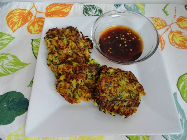 Zucchini Fritters with Soy Dipping Sauce